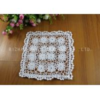 Best White Flower Square Crochet Floor Rug / Cotton Handmade Crochet Placemat wholesale