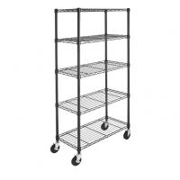 Buy cheap 5-Shelf Shelving Storage Unit on 4'' Wheel Casters Metal Organizer Wire Rack from wholesalers