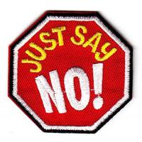 Details of just say no iron on embroidered applique patch