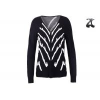 Best Jacquard Knit Ladies V Neck Cardigan Sweater With Full Zipper Skin Friendly Non Wrinkle wholesale