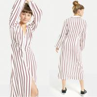Best 2018 New Arrival Fall Long Sleeve White and Red Striped Zip Front Sex V neck Midi Dress Ladies Autumn wholesale