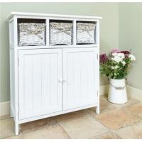 China 3 Wicker Basket Chest Of Drawers Stand White Wooden Kitchen Cabinets on sale
