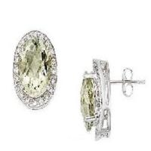 Best 14K White Gold Earrings Green Amethyst and Diamond wholesale