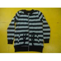 Best Funky Drawstring Girls Zip Up Jacket , Grey And White Striped Top For Kids wholesale