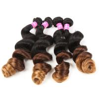Buy cheap Blonde 3 Tone Remy Ombre Hair Extensions Brazilian Hair Loose Wave 1b / 4 / 27 from wholesalers