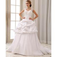 China Romantic Lace Cap Sleeve Halter Neck Wedding Dresses With Heart Shaped Bra on sale