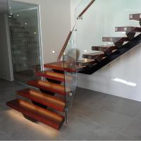 Best Hot Sale Modern Internal Staircase Walnut Stair Treads Staircase with Glass Railing wholesale