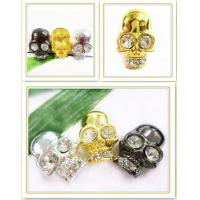 Best Handmade Jewelry Findings Gold / Black / Silver Skull Charms / Pendants 25 * 37mm wholesale
