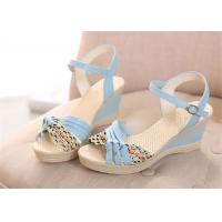 Best Colorful PU Straps Upper Women'S Wedge Sandals , Beautiful Ankle Strap Wedge Sandals wholesale