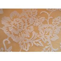 Embroidered Floral Sequin Netting Fabric , Sequin Tulle Fabric For Ivory Wedding