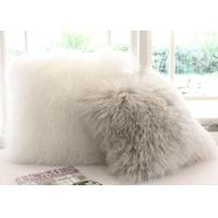 Best Double Sided Sheepskin Soft Fuzzy Pillows , Real Mongolian Fur Cushions wholesale