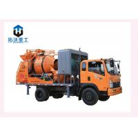 China Diesel Engine Concrete Mixer Pump Truck , Forced Mobile Concrete Mixer With Pump on sale