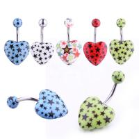 China New arrival heart shape belly ring piercing jewelry 14G surgical steel navel belly ring on sale