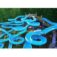 Best Bright Blue Fiberglass Open Spiral Slide Adult Swimming Pool Equipment wholesale