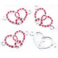 Best 10 - 20mm Pink / Silver Heart Shape Shamballa Charms / Pendants Handmade Jewelry Findings wholesale