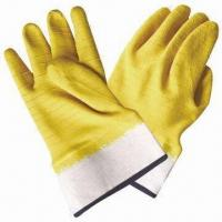 Best Cotton jersey lining latex wrinkle gloves with yellow latex coating wholesale