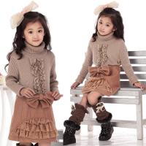 Best Bow Lace Blocked Woolen Girls Winter Skirts , Comfy Elastic Waist A Line Skirt wholesale