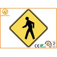 Best Customized Traffic Warning Signs , Yellow Reflective Pedestrian Warning Sign wholesale
