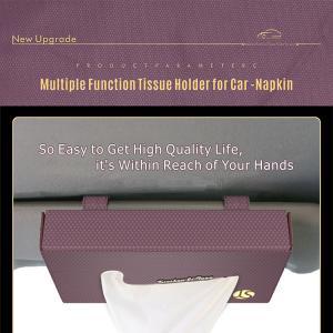Best Sun visor tissue holder PU leather tissue holder for napkin  storage bag with tissue paper rain coat trash bag wholesale