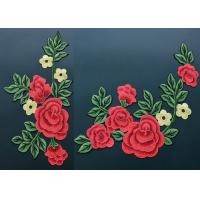 Best Colorful Polyester Neckline Embroidered Applique Patches With Large Red 3D Flower wholesale