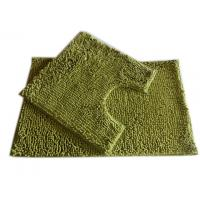 China 25mm Pile Height Chenille Microfiber Bathroom Mat , Olive Green on sale