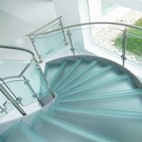 Cheap Curved Staircase / Modern Marble Staircase / Helical Staircase with Glass Railing for sale