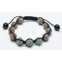 China Shamballa Bracelet, Cyan & Citrine Crystal Pave Beads on sale