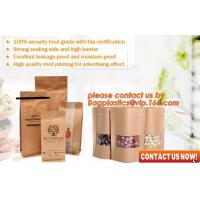 Best ziplock colorful printing stand up kraft paper bags with clear window,Brown kraft paper aluminum foil zipper plastic bag wholesale