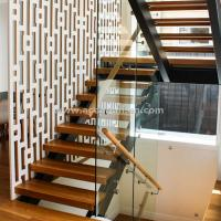 Best Beautiful Modern Design Double Cantilevered Steel Wood Stringer Glass Staircase wholesale