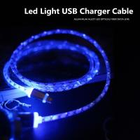China 1M Transparent Aluminum LED light Micro USB charger Cable Data Charger Cables For Samsung Galaxy LG G3 HTC Sony Xiaomi on sale