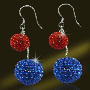 Best 925 Sterling Silver Double Crystal Balls Earrings (ESL3363A) wholesale