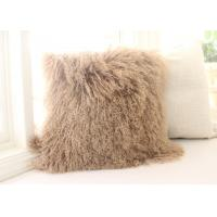 Best Mongolian fur Pillow TIBETAN MONGOLIAN SHEEPSKIN FUR CUSHION TAN  50cm wholesale
