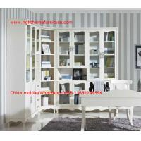 Best Reading room Neoclassical Furniture by White Bookcase set with glass door and Computer working desk wholesale