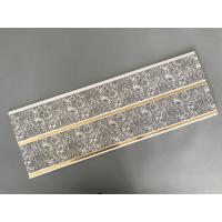 Cheap Dark Gray Printing PVC Wall Panels With Golden Lines Recyclable Material for sale