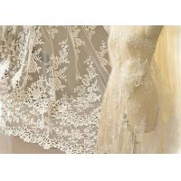 Best Ivory Embroidery Bridal Corded Lace Fabric , Flower Scalloped Edge Lace Fabric By The Yard wholesale