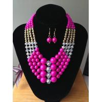 Best Fashion Exporting designs Four layers bead chain floral pendant symmetry necklace wholesale