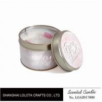Cheap Small Soy Tealight Candles , Tin Can Candles Raspberry / Amber Fragrance for sale