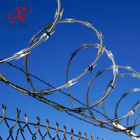 Best Farm / Airport Razor Blade Barbed Wire With Electric Or Hot Dipped Galvanized Surface Treatment wholesale
