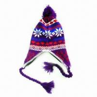 China Jacquard Knitted Lady's Hat, Made of Acrylic on sale