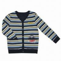 Best Children's long-sleeved T-shirts,boy`s colour-striped with full open front T-shrit wholesale