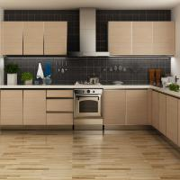 Modern Stainless Steel Melamine Kitchen Cupboards , L Shaped Pull Out Kitchen Units
