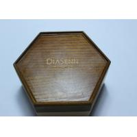 Cheap Dark Solid Wood Standing Jewelry Box , Gift Wood Hexagon Shaped Box for sale