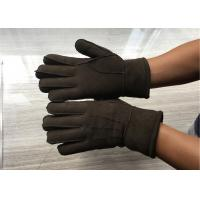 Best Handsewn Sueded Lamb Shearling Gloves , Black Mens Winter Mittens wholesale