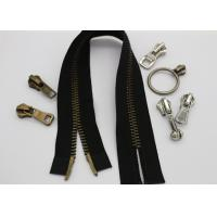 Best High Polished Metal Purse Double Slider Zipper , Antique Brass Teeth 2 Way Open Ended Zips wholesale