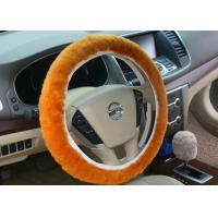 Best Real Brown Sheepskin Steering Wheel Cover Warm Soft For Autumn / Winter wholesale