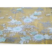 Best Embroidery 3D Floral Wedding Dress Lace Fabric By The Yard With Beads Light Blue wholesale
