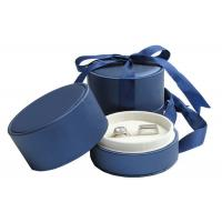 Best Wedding Double Rings Jewelry Paper Boxes With Ribbon Dark Blue wholesale