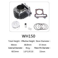 Best WH150 Aluminum Motorcycle Cylinder Kit With Piston , Piston Ring , Pin , Clip And Gasket wholesale