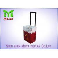 Cheap Foldable Corrugated Material Advertising Carton Trolley With Retractable Handle for sale