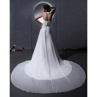 Cheap Elegant around the neck Chiffon Wedding Dresses with open back / cathedral train for sale
